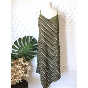 ETHEREAL GREEN DIAGONAL STRIPE ROPE STRAP DRESS